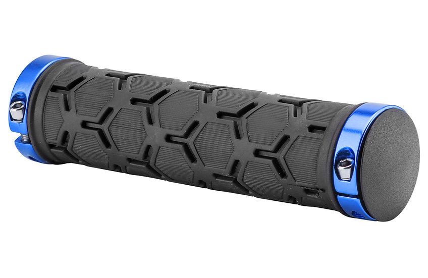 Грипсы XH-G181BL 130 мм чёрные, синие кольца