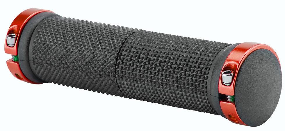 Грипсы XH-G59BL 130 мм чёрные, красные кольца