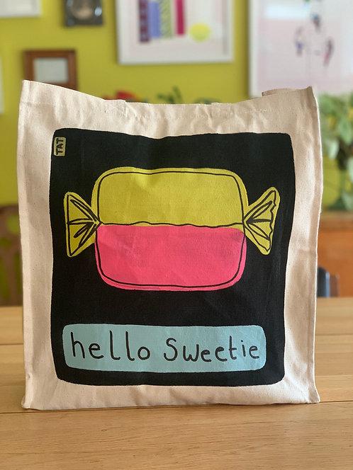 Hello Sweetie (black) Canvas Bag