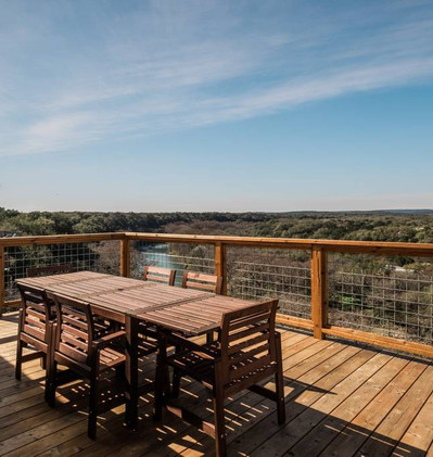Outdoor Dining on Deck overlooking the Guadalupe River