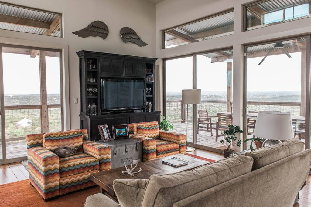 Living Area with Views of Lake and Hill Country
