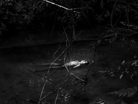 In November, 2017, Aladino, a native Bora shaman, floats in exhaustion in a small creek just the day after a healing session, in Pebas, a small village located in the heart of the Amazon. The small creek belongs to a Bora Sacred Valley and it's a tradition for the shamans to come restore his strength to continue the process.