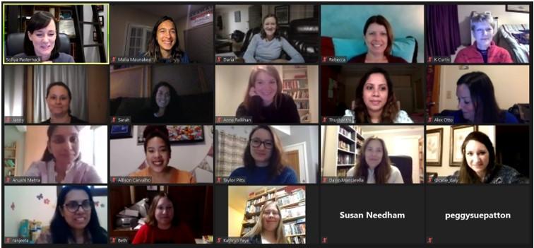 Sofiya Pasternak and some of the #MGwaves writing group on a zoom call