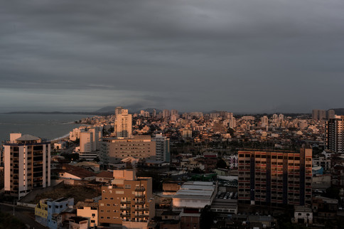 On July 30th, 2020 an overview of the first morning light of the city of Macaé, state of Rio de Janeiro, Brazil. The city underwent rapid and poorly planned urban growth. The city's architecture contrasts large, modern buildings with small, old houses that recall the period before oil.