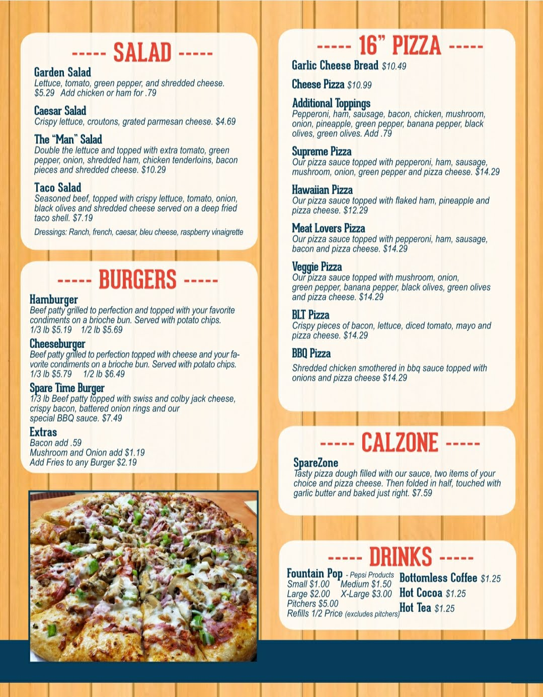 Pizza, Salads, & Burgers