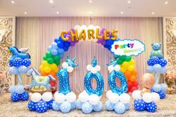 彩虹拱門+字母名字+氣球柱x2+100數字 $2100