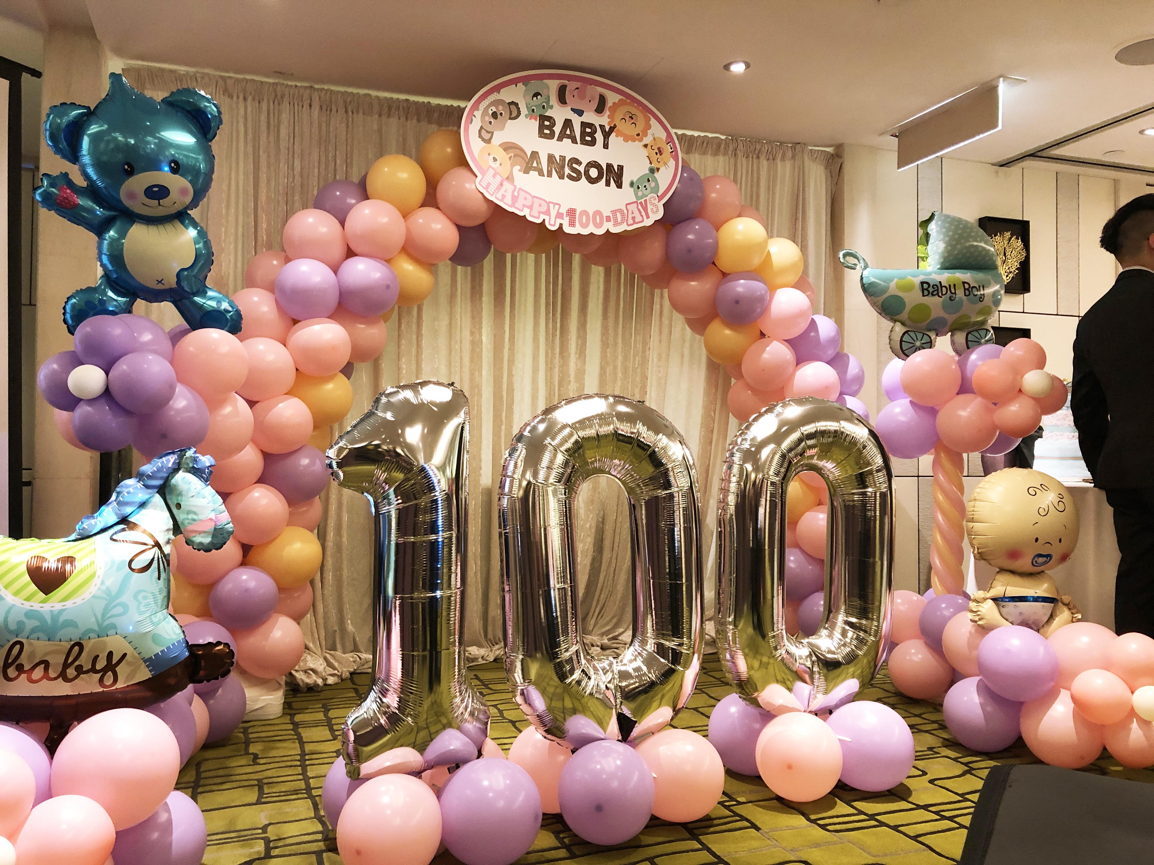 拱門+設計展板牌+氣球柱x2+100數字 $2300