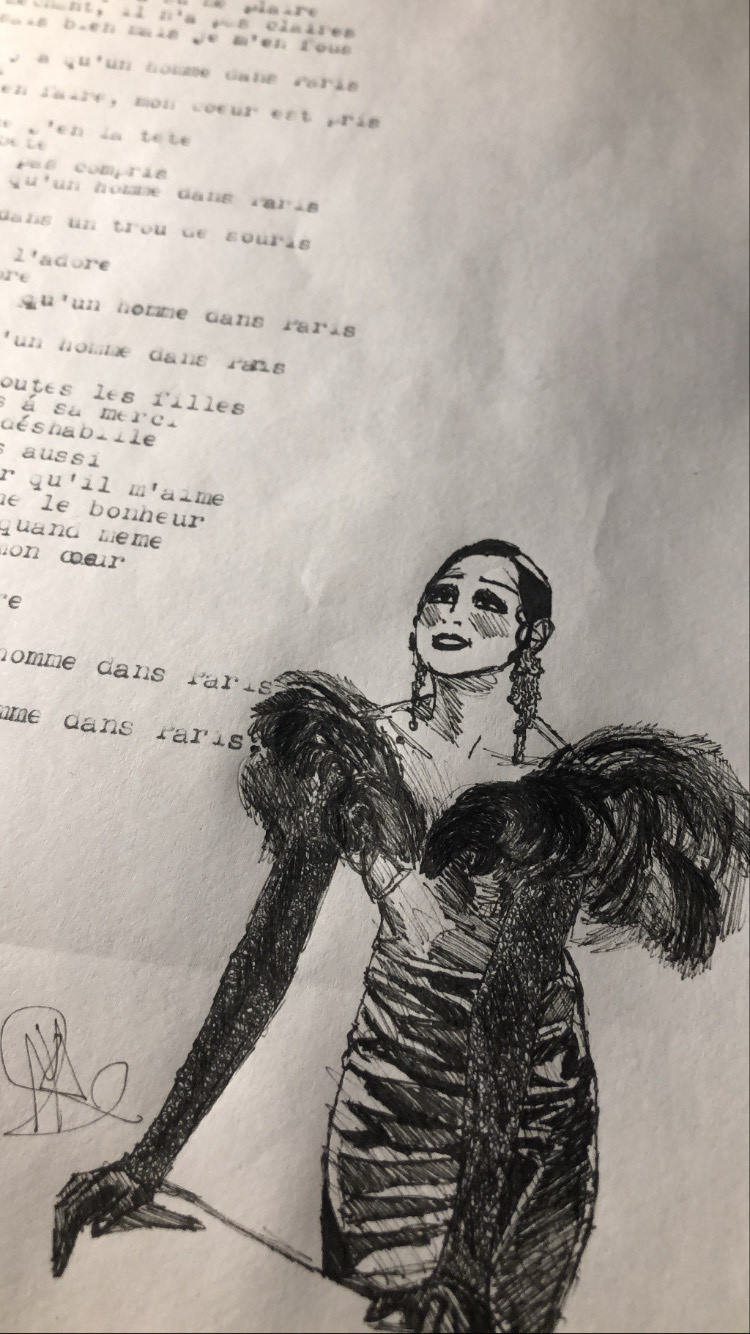 I typed up some lyrics of a Josephine Baker song from 1934 and made this drawing of Josephine.