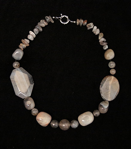 Chunky Agate Necklace - Earthtone