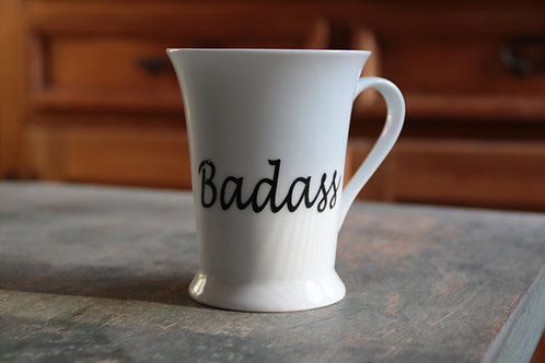 Porcelain Mug #1 (Double Decal Badass/Positivity)
