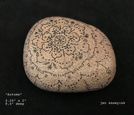 """Autumn"" Mandala Meditation Stone"
