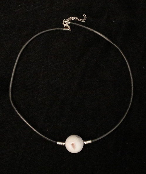 Plated Druzy Bead Necklace - Light Pink
