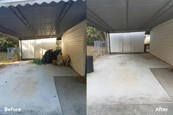 Before & After of a carport clean up
