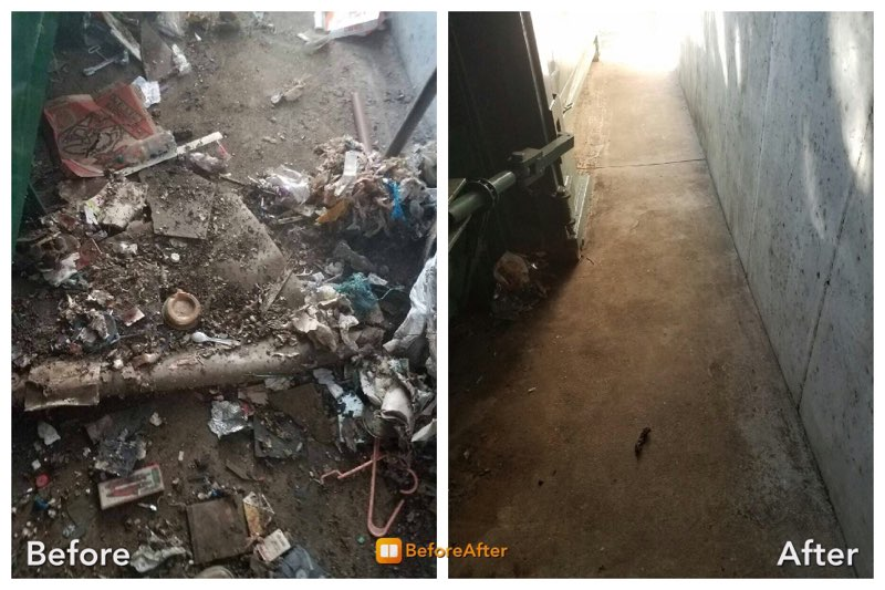 Trash compactor clean up