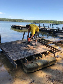 Cutting and removing dock.