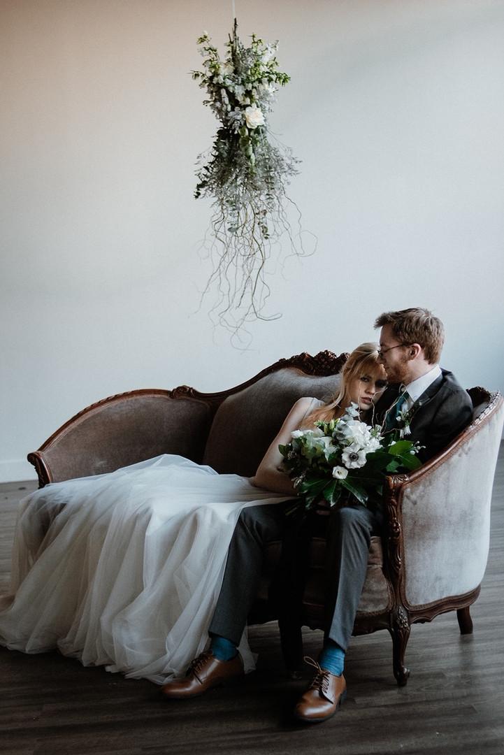 Bride and Groom in Settee