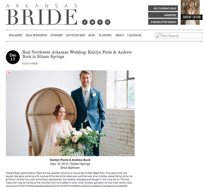 Arkansas Bride Spring/Summer 2020 Issue - Brick Ballroom Published