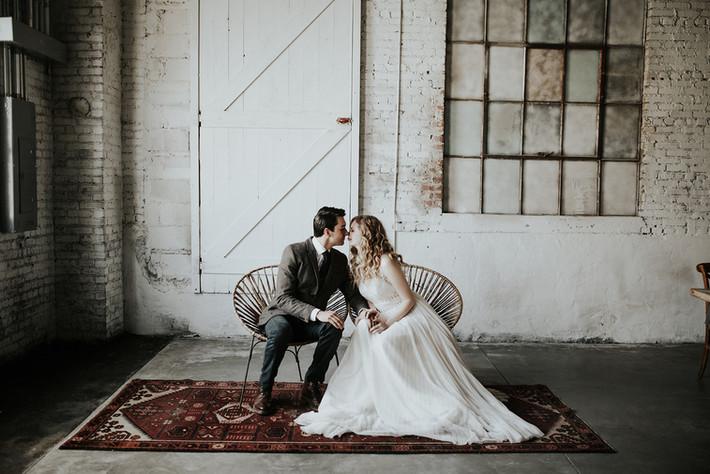 Bride and Groom in Industrial wedding venue the brick ballroom