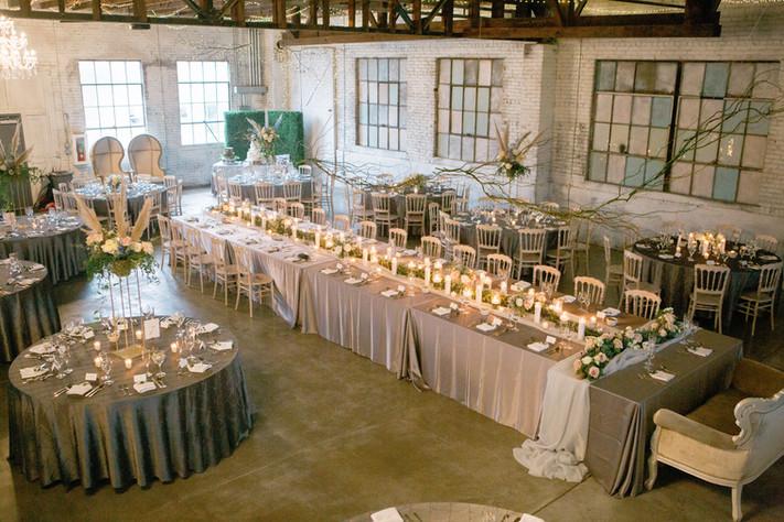 Reception set up at the Brick Ballroom