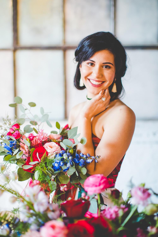 Bride in The Brick Ballroom, wedding venue in northwest arkansas