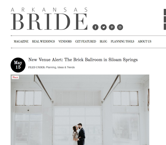 Arkansas Bride Magazine Write Up on The Brick Ballroom