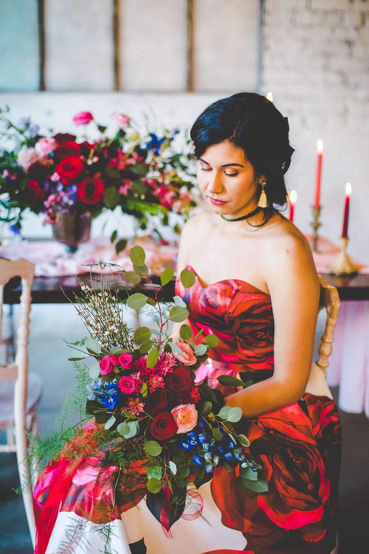 Bride sitting in The Brick Ballroom, wedding venue in northwest arkansas