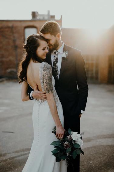 bride and groom outside the Brick Ballroom