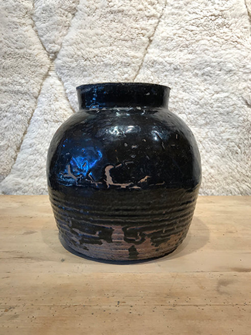 Vintage jar black/brown glazed