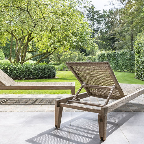 Sunlounger reclaimed teak natural grey and PE wicker