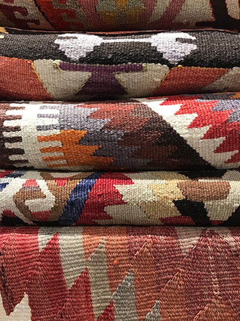 Wide selection of unique vintage Kilim rugs. Please contact us.