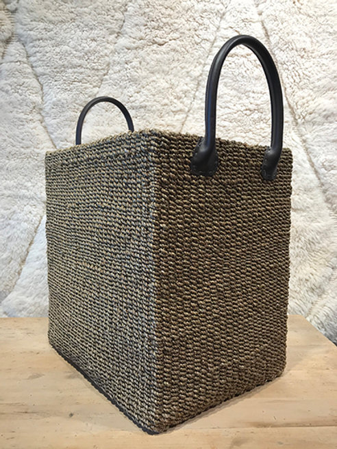 Basket Abaca plant with leather handles