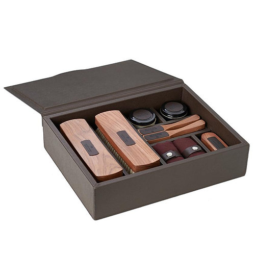 Handmade Shoe care box in leather color smoke