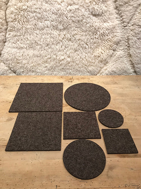 Placemats and coasters of pure new wool