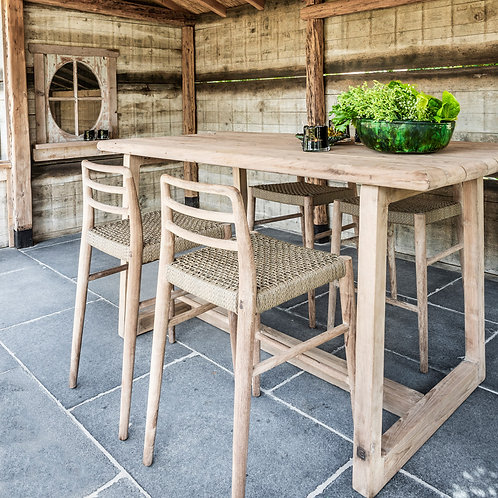 Bartable and barchairs reclaimed teak wood