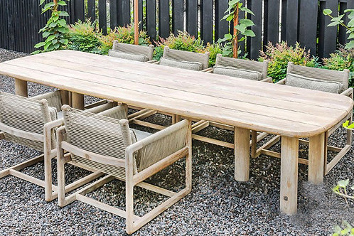 Low table teak and chairs teak/rope