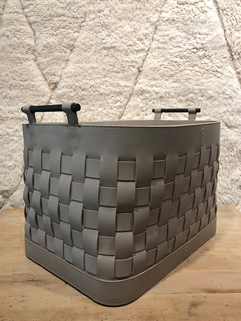 Storage basket leather taupe