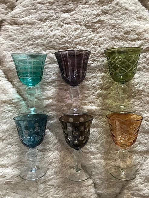 Wine glasses multicolor, set of 6