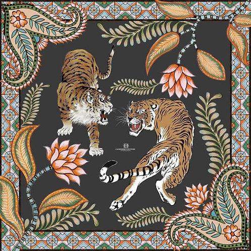 Cashmere scarf TIGER 140x140cm darkgrey/black