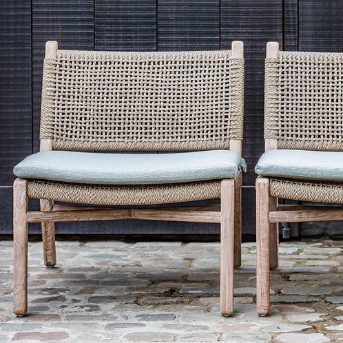 Lounge chair teak natural grey with PE wicker