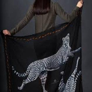 Cashmere scarf LEOPARD 140x140cm dark grey