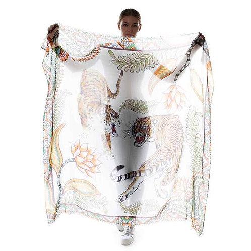 Cashmere scarf TIGER 140x140cm white