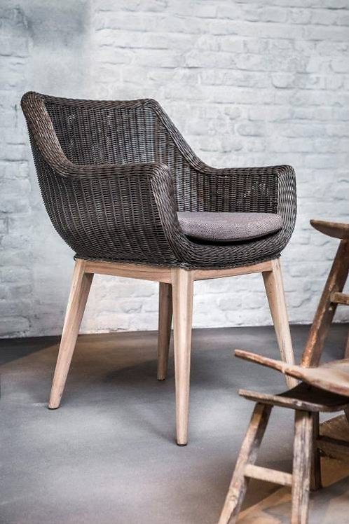 Chair teak frame with PE wicker charcoal