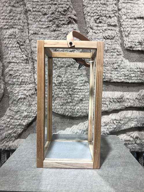 Lantern large in recycled teak with leather strap