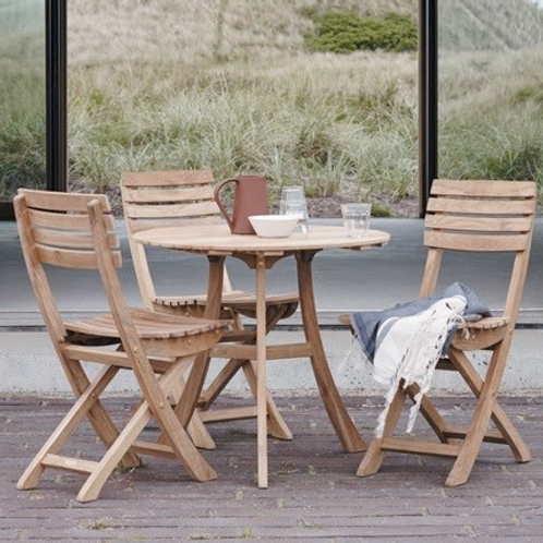 Table round teak and chairs VEN