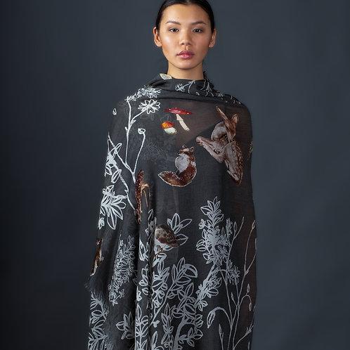 Cashmere scarf WOOD 140x140cm grey