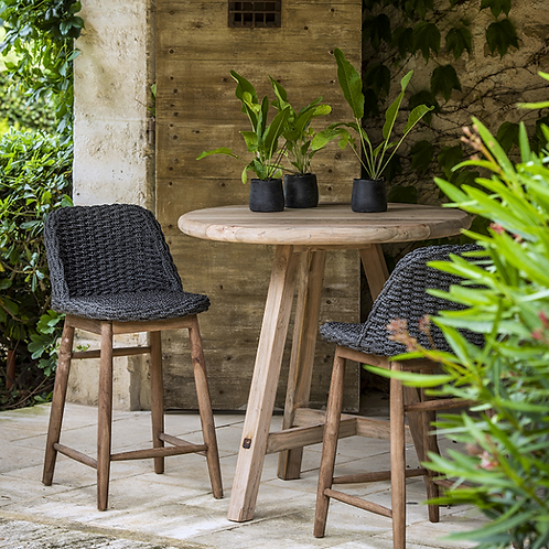 Bartable teak round ø95cm and bar chairs charcoal