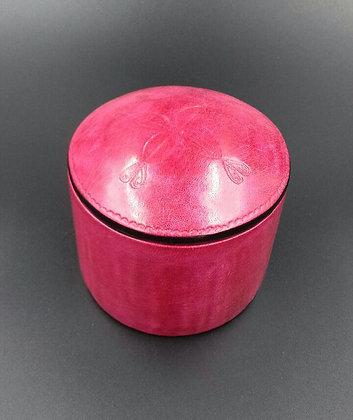 Boite en cuir rose foncé