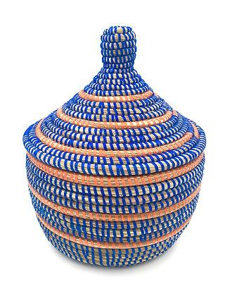 Panier tressé bleu et orange