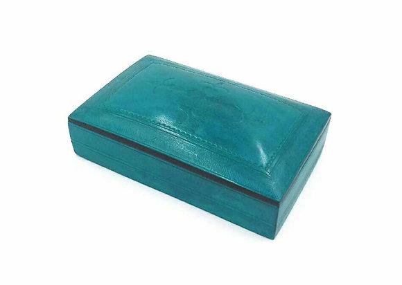 Boite en cuir bleu turquoise