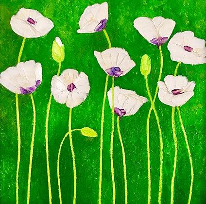 """Tableau """"huile sur toile""""  - Fleurs de Pavot"""